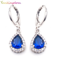 Yunkingdom 4 colors Woman/girl white gold plated small water drop crystal Zircon wedding Drop earrings fashion jewelry