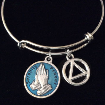 Blue Serenity Prayer AA Silver Expandable Charm Bracelet Adjustable Wire Bangle Inspirational Meaningful Recovery Gift Alcoholics Anonymous