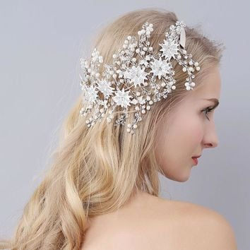Luxury Flowers Wedding Hair Accessories Gold/Silver Bridal Hats Cute Flowers Bridal Accessories Bridal Headpiece With Ribbon New