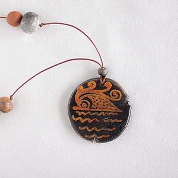 Ceramic clay adjustable necklace, Ancient Greek Art, Mythology jewelry, Sea wave necklace, leather pendant, bohemian style