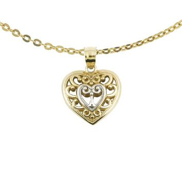 10k Two-tone Fashionable Gold Scroll Heart Charm with Chain Necklace | Overstock.com Shopping - The Best Deals on Gold Necklaces