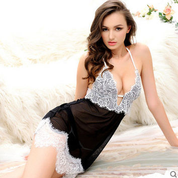 Lisacmvpnel Eyelash Lace Sexy Women Nightgown Spaghetti Strap Deep V Patchwork Female Sleepwear
