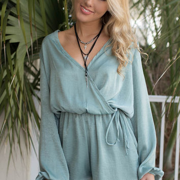 Bring the Blitz Sage Silk Romper