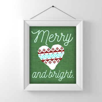 Printable wall art, Christmas decor, holiday print, merry and bright, hostess gift, present  friend, xmas poster, winter decoration, nordic