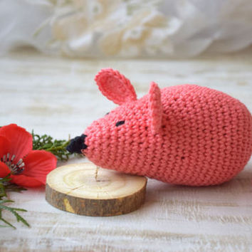 Amigurumi Crochet toy Mouse Baby rattle Stuffed Baby toy animal toys Teether organic New Baby Gift Baby Shower Gift newborn Kids toddler toy