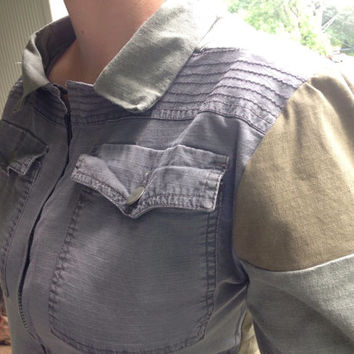 Women's Upcycled Military Chic Cargo Jacket - Size M