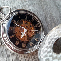Mechanical Pocket Watch, Stainless Steel Pocket Watch, Roman Digits Pocket Watch, Best Chosen Gift
