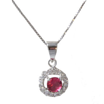 Rubylicious Necklace - Ruby colored cubic zirconia solitaire with white cz circle border sterling silver necklace