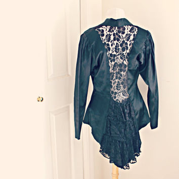 ruffled lace black satin and sheer blazer. 80's ooak