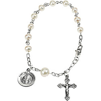 Sterling Silver First Holy Communion Freshwater Pearl Rosary Bracelet