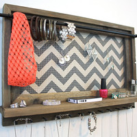 Jewelry Display - Grey Chevron Pattern Barnwood Shelf
