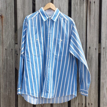 VTG 80s Men's LEE Striped Shirt - Rockabilly - Blue White Stripes - SZ L