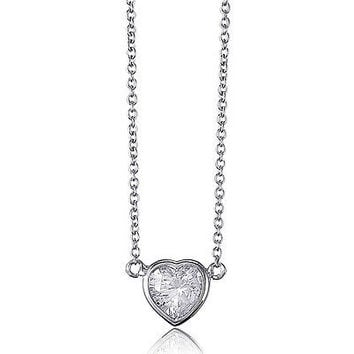 1 ctw Diamond Alt. Heart Bezel set Solitaire Pendant Necklace ~ 14k WGP