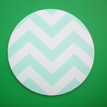 Mouse Pad mousepad / Mat - round - mint green zig zag chevron - Computer Accessories Geekery Custom Desk Coworker Gifts Office Gifts