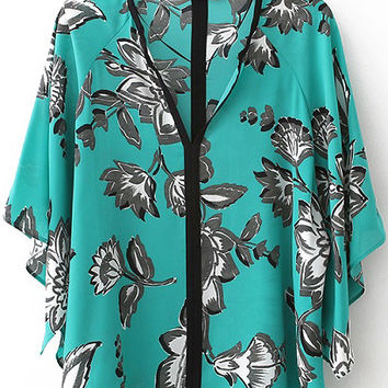 Green Floral Flared Sleeve Loose Fitting Blouse