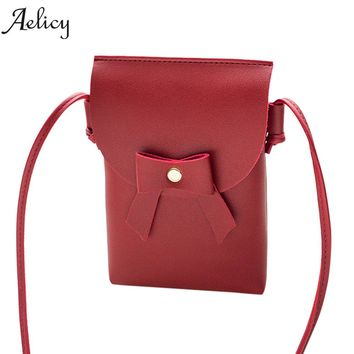 Aelicy Fashion Women Bow Crossbody Bags Shoulder Bags Messenger Phone Coin Bag PU Leather 2018 New Design Hasp Ladies bag HOT