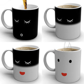 Heat Changing Face Mug Morning Color Cup Coffee Sensitive Magic Tea Hot Reactive Cold