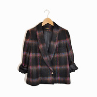 Vintage 80s Shaggy Plaid Jacket in Black & Purple - women's medium