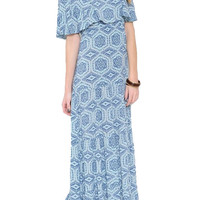 Le Soleil Off the Shoulder Maxi Dress - Blue + Multi