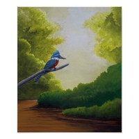 Kingfisher Perched Above A River Poster Art
