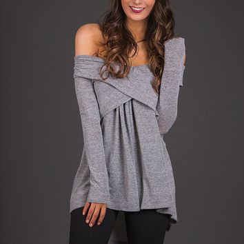 Windswept Off The Shoulder Tunic Top (Heather Grey)