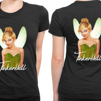 DCCKG72 Disney Tinkerbell Real Face Light 2 Sided Womens T Shirt