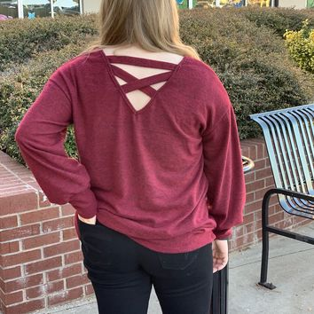 No Worries Knit Sweater with Criss Cross Back Detail - Burgundy