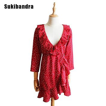 Sukibandra Star Print Short Red Dot Retro Dress Women Vintage Ruffle Beach Wrap Summer Dress Star Girl Long Sleeve Lace Up Dress
