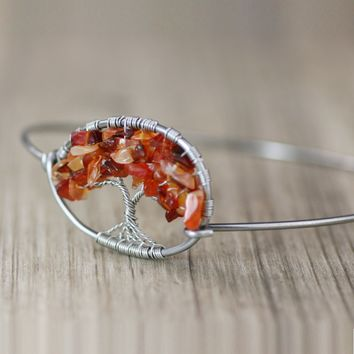 Silver carnelian autumn harvest Personalized Tree of life Bangle Bracelet Handmade Freeshipping Handmade Anni Designs