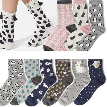 Adult Size Bunny Socks Rabbit Owl Polka Dot Animals Zoo Yellow Duck Spotty Dog Cookie Purl OVO Fluff Fluffy Panda Bear Cat Paw