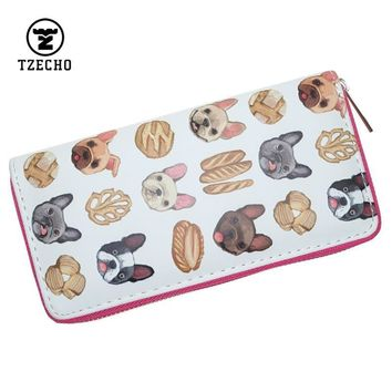 TZECHO Zipper Around Womens Wallets Leather Prints Animal Dog Long Femal Purses Coin Pocket Credit Card Holder Phone Clutch Bag
