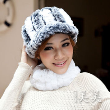 Crownless winter knitted hat visor cap thermal millinery rex rabbit hair fur hat