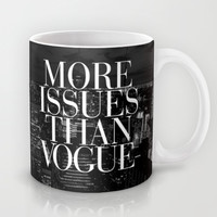 More Issues Than Vogue Black and White NYC Manhattan Skyline Mug by RexLambo