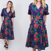 vintage 80s neon floral midi dress pleated double breasted cabbage rose revival secretary v neck M 80s does the 50s