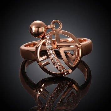 Geometry Round Pendant Rose Gold Plated Ring