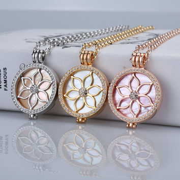 Shell fashion coin necklace set my 33mm coin pendants necklace women interchangeable 35mm coin holder with brand necklace