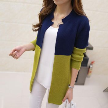 Women Panelled Patchwork Long Cardigans Korean Autumn New Arrivals Knitted Outwear Casual Long Sleeve Ladies Sweaters 62414