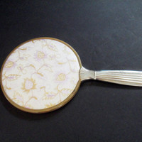 Mirror Handheld Vanity or Dresser Mirror Beveled and Embroidered Gold Lilac