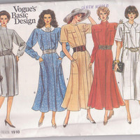80s vintage pattern for loose fitting dres with straight or flared skirt, long or short sleeves misses size 8 10 12 Vogue 1910 UNCUT