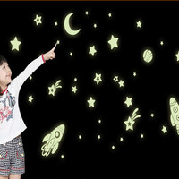 New Arrive Y0013 Free Shipping luminous fluorescent Moon Star Space Rocket SpaceShip Removable PVC Wall Stickers Home Decoration