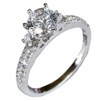 Solitaire Diamond Promise Ring – White Cubic Zirconia