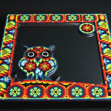 H202 Large Square Mirror Huichol Mexican Folk Art Shipping From Mexico Peyote