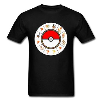 Chart Fashion Cartoon Print Men's Black T-shirt Novelty Short Sleeve Cute Design Adult Tees ShirtsKawaii Pokemon go  AT_89_9