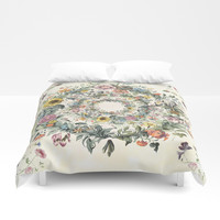 Circle of Life Cream Duvet Cover by anipani