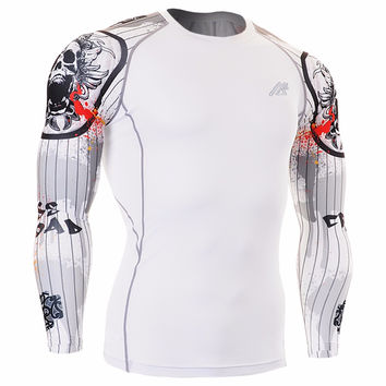{DUO PINSTRIPE SKULL} Technical Compression Shirt Workout Gym MMA Fitness Crossfit Yoga CPD-W9