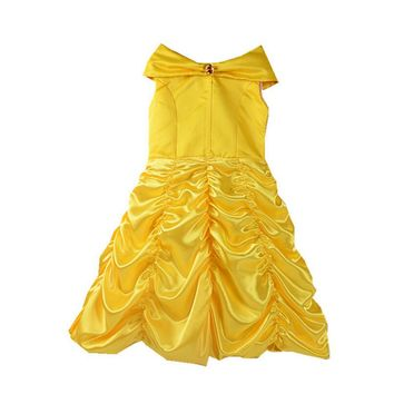 High quality 2017 Princess Belle Fairy Kids Fancy Party Christmas Halloween Dress Beauty Beast Cosplay Costume Girls Ball Gown