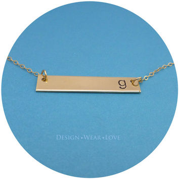 Personalized Hand Stamped Single Initial Gold Bar Monogram Necklace Long Rectangle Pendant Handstamped Name Charm Jewelry