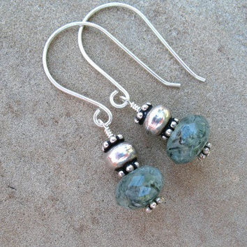 Green Earrings, Sterling Silver,  Prehnite Bead Earrings, Under 20