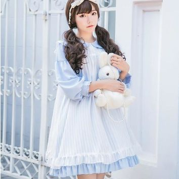 Japanese Quadratic Element Style Doll Collar Dress Mori Girl Sweet Pure Color Lantern Sleeve Preppy Princess Lolita Dress