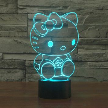 Novelty Hello Kitty 3D Lamp 7Colors Changing LED Night Light Touch Change Colors Decorative Table Lamp for Kids Gift IY803332